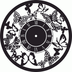 Butterfly Wall Clock Home Decor Free DXF File