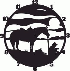 Cowboy Wall Clock Western Horse Free CDR Vectors Art