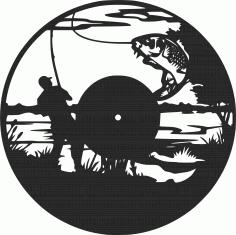 Fishing Vinyl Wall Clock Fisherman Free DXF File