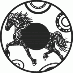Horse Wall Clock Free DXF File
