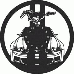 Mustang Car Wall Clock Free CDR Vectors Art