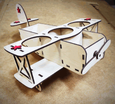 Laser Cut Airplane Model Beer Holder Free CDR Vectors Art