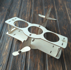 Laser Cut Biplane Wooden Beer Holder Free CDR Vectors Art