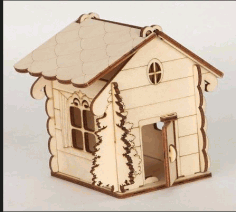 Laser Cut House Shaped Box With Tree Free CDR Vectors Art