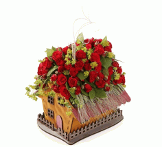 Laser Cut House Shaped Flower Box Valentine Day Decorations Free CDR Vectors Art