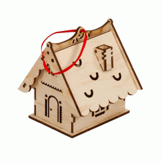 Laser Cut Simple Wooden House Free CDR Vectors Art