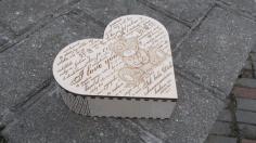 Heart Box With A Bear Laser Cut Free CDR Vectors Art