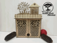 Laser Cut Key Cabinet Wooden Key Holder Box Wall Mounted Decorative Key Rack 3mm Free CDR Vectors Art