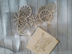Wooden Box With Snowflake Toys 100x100x75mm Free CDR Vectors Art