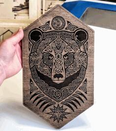 Laser Cut Engrave Bear Wall Mural Free CDR Vectors Art