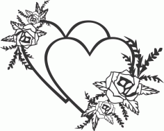 Laser Cut Engrave Two Hearts Valentines Day Decor Free CDR Vectors Art