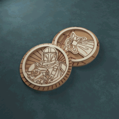 Engraved Wooden Mandalorian Inspired Badges Free CDR Vectors Art