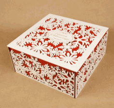 Laser Cut Snowflake Box Square Snowflake Gift Box Free CDR Vectors Art