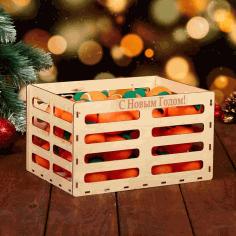 Laser Cut Wooden Crate Gift Box Basket Free CDR Vectors Art