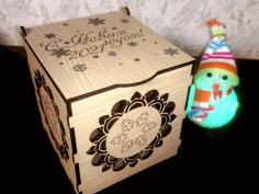 Laser Cut Wooden Gift Box With Lid For Wedding Free CDR Vectors Art