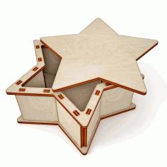 Laser Cut Wooden Star Gift Box Free CDR Vectors Art