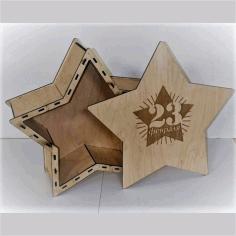 Wooden Star Gift Box Free CDR Vectors Art