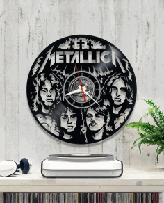 Laser Cut Metallica Vinyl Wall Clock Free CDR Vectors Art
