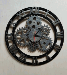 Laser Cut Roman Numerals Gear Clock Free CDR Vectors Art