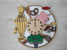 Laser Cut Samovar Wooden Wall Clock Free CDR Vectors Art