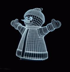 Laser Cut Snowman Decor 3d Acrylic Lamp Free CDR Vectors Art