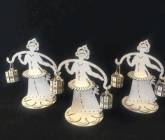 Napkin Holder Girls With Lamp Wood Free CDR Vectors Art