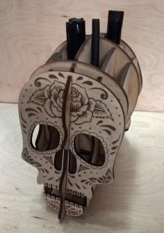 Laser Cut Skull Pen Holder Desk Organizer Template Free CDR Vectors Art