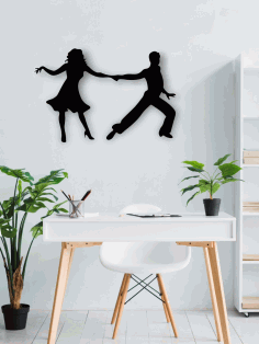 Laser Cut Dancing Couple Wall Art Free CDR Vectors Art
