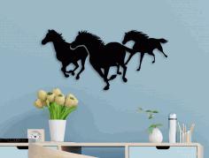 Laser Cut Running Horses Wall Art Free CDR Vectors Art