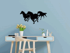 Running Horses Wall Art Free CDR Vectors Art