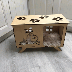 Laser Cut House For Cats And Dogs Free CDR Vectors Art