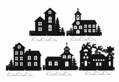 Laser Cut Window Decor Houses Window Sill Decorating Ideas Free CDR Vectors Art