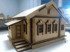 Laser Cut Wood Village House Free CDR Vectors Art