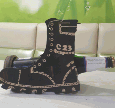 Laser Cut Boot Wine Bottle Holder Decorative Display Stand Free CDR Vectors Art