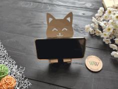 Laser Cut Cute Cat Smartphone Stand Free CDR Vectors Art