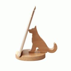 Laser Cut Cute Dog Phone Holder Animal Desk Phone Stand Free CDR Vectors Art