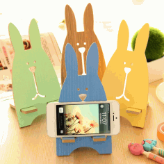Laser Cut Rabbit Desk Phone Stand Free CDR Vectors Art