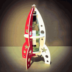 Laser Cut Rocket Beer Bottle Stand Free CDR Vectors Art