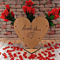 Laser Cut Valentine Day Gift Heart Shape Rose Stand Free CDR Vectors Art