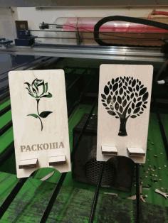 Laser Cut Wood Decor Tree Phone Stands Free CDR Vectors Art