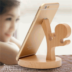 Laser Cut Wooden Ninja Phone Stand Free CDR Vectors Art
