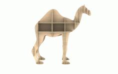 Laser Cut Wooden Camel Shelf Modern Storage Shelf Free CDR Vectors Art