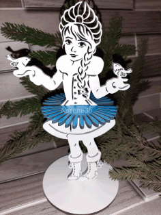 Decorative Wooden Tabletop Snow Maiden Napkin Holder Free CDR Vectors Art