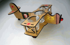 Laser Cut Airplane Shaped Wine Glass Holder Free CDR Vectors Art