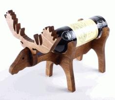 Laser Cut Moose Wine Bottle Holder 10mm Free CDR Vectors Art