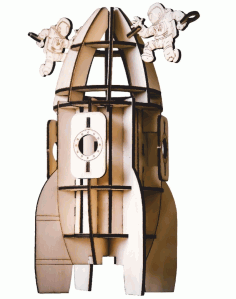 Laser Cut Rocket Model Beer Holder Free CDR Vectors Art