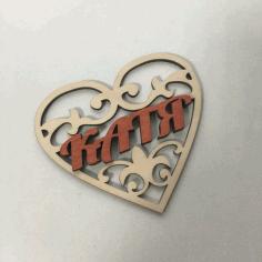 Laser Cut Valentine Wood Decor Free CDR Vectors Art
