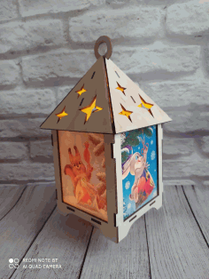 Laser Cut Lantern Decor Holiday Lantern Free CDR Vectors Art