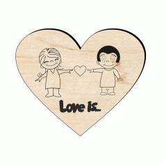 Laser Cut Wooden Love Magnet Free CDR Vectors Art
