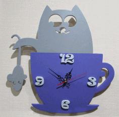 Cats And Mice Children Wall Clock Laser Cut Free CDR Vectors Art